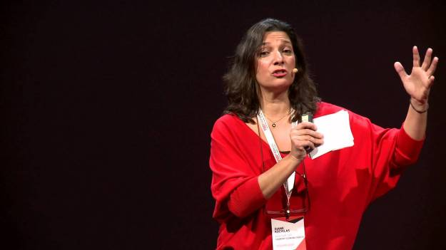 Diane Kochilas giving a Tedx talk in Greece.
