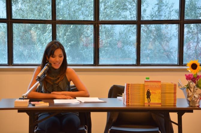 Tejada at a book Reading at Art Links Athens 2014.