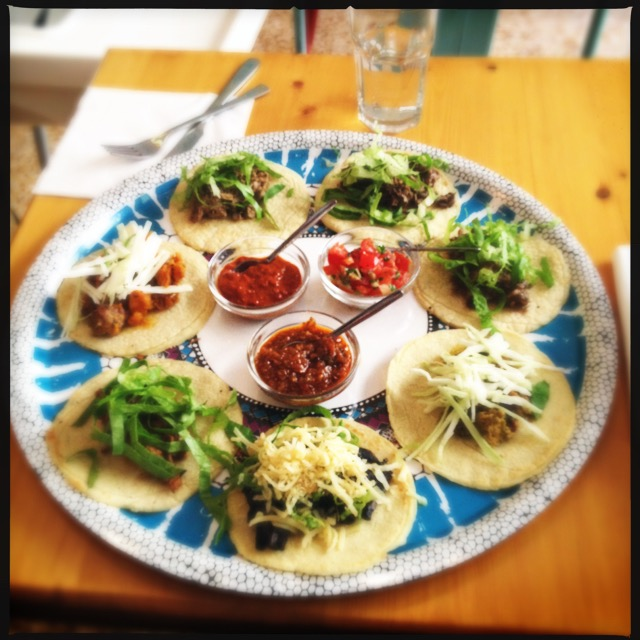 The taco palooza platter, with Taqueria Maya's seven topping options.