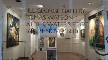 The window from Tomas Watson's London 'At the Water's Edge' exhibition featuring his latest India-inspired works